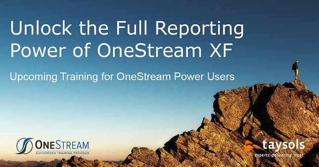 OneStream XF Power User Training - July 14th-15th