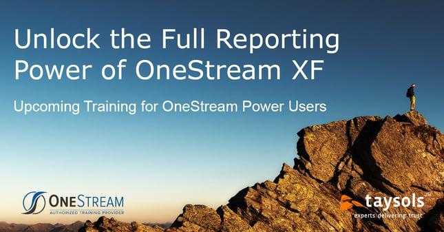OneStream XF Power User Training - July 14th-15th