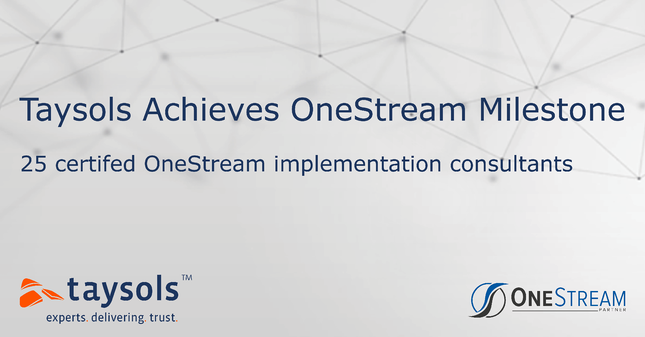 Taysols Achieves OneStream Milestone