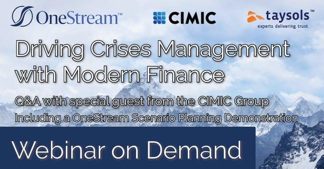 Webinar On Demand - Driving Crisis Management with Modern Finance - OneStream Scenario Planning